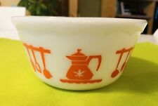 Vintage Hazel Atlas Orange Kitchen Aids Utensils Milk Glass Mixing Bowl 6 Inch