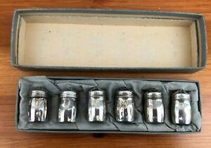 Vintage Boxed Set Of Six Small Sterling Silver Cruets Salt Pepper Pots