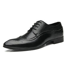 Men's Snake Pattern Leather Lace-up Oxfords Brogues Wingtip Formal Dress Shoes