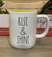 Rae Dunn By Magenta - LL RISE & SHINE - LL WHITE W YELLOW Interior Coffee Mug