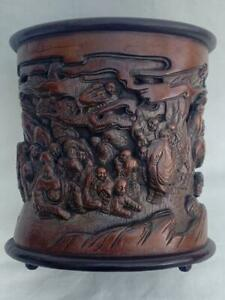 Outstanding Vintage Chinese Deep Relief Carved & Signed Bamboo Brush Pot.
