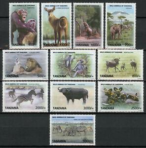 Tanzania Wild Animals Stamps 2010 MNH Definitives Elephants Lions Zebras 11v Set