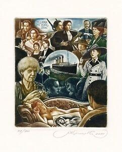 Steamship Titanic,   Nude, Limited Edition Ex libris Etching, Sergey Kirnitskiy