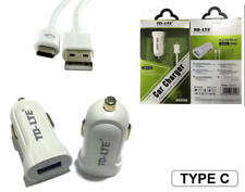 Mini CHARGEUR VOITURE USB 2,4A + CABLE USB Type-C Blanc / NOKIA 6 (2018)