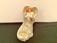 "Yankee Candle Ceramic Angel Holding Dove Tea Light Candle Holder Figurine 6.5"""