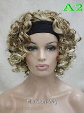 New Ladies wig shot curly Black/Brown /blonde 3/4 with headband Wigs+wig cap