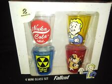 Rare FALLOUT Whiskey Shot Glass Set of 4 / New in Box - Colorized