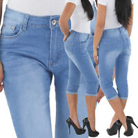 Damen Capri Bermuda Stretch Hüftjeans Shorts Jeans 3/4 kurze Hose bis Übergröße