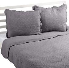 Linder 581/90/835/250 Jeté de Lit/boutis Uni coton Gris ciment 260 x 250 cm