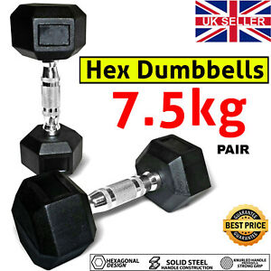 Hex Dumbbells Hand Weights 15 KG Set For Home Gym Workout Rubber Dumbbell Pair