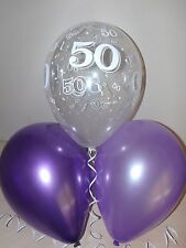 Purple / Lilac & Clear Printed 50th BIRTHDAY BALLOONS / Party Decorations x 15