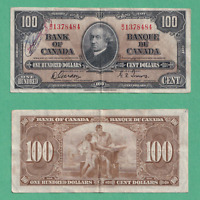 1937 $100 Bank of Canada Note Gordon Towers - VF (writing)