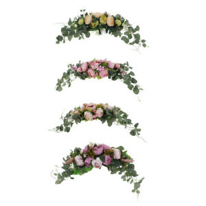 Handmade Artificial Pink Peony Rose Swag Wreath Flowers for Home Room Garden