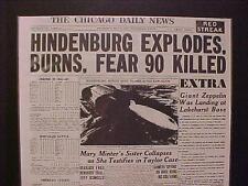VINTAGE NEWSPAPER HEADLINE~GERMAN ZEPPELIN AIRSHIP HINDENBURG EXPLODES DISASTER~