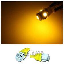 2X YELLOW T10 Wedge 5-SMD 5050 LED Light Bulbs HID Xenon W5W 192 168 194
