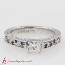3/4 Carat Princess Cut Diamond And Sapphire Gemstone Engraved Engagement Ring