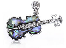 Faux Abalone Tiny Crystal Rhinestone Vogue Guitar Silver Tone Necklace Pendant