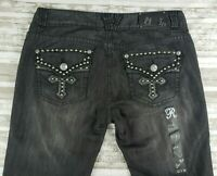 Rock & Roll Cowgirl Womens Low Rise Boot Cut Stretch Jeans Black Size 34X33