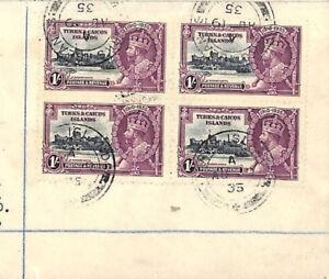 British 1935 SILVER JUBILEE SET Turks & Caicos KGV Blocks{4} FOUR COVERS AB331