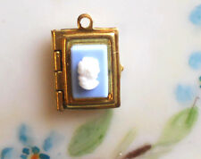 #1564H Vintage Book Locket charm Pendant Cameo Square Blue Gold Tone NOS