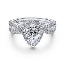 Gabriel & Co 14K White Gold Pear Shape Halo Diamond Engagement Ring