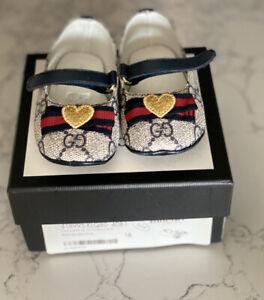 Blue GG Gucci Pre Walker Shoes Size 18 Infant