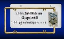 Gold Plastic Frame Kit Shield Gold Screws Gifts Autos Cars Plate Holder