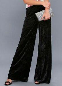 CYNTHIA ROWLEY Velvet Wide Leg Pants in Black, Size US 12/AU 16, NWOT [RRP $170]