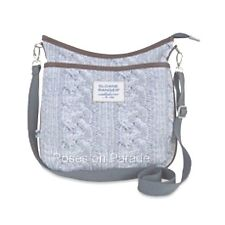 SLOANE RANGER MEDIUM SIZE GREY CABLE KNIT PRINT CROSSBODY  NWT