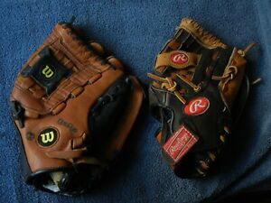 "2 Youth Baseball GLOVES 11"" Leather Right Handed Thrower  WILSON  & RAWLINGS"