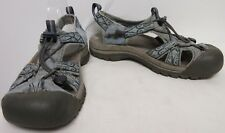 KEEN LIGHT BLUE NYLON SUEDE TRIM GRAY FOOTBED OUTDOOR SPORT CLOSED TOE SANDALS 8