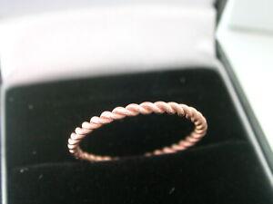 9ct Rose Gold Twist Stack Ring. Size O. 9ct Rose Gold Hallmarked. Rose Gold 9ct