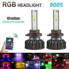 2x RGB 9005 H10 HB3 Car LED Headlight Lamp Kit Bulbs Light APP Bluetooth Control