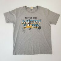 Mens Unisex Daffy Duck Angry Bird LOONEY TUNES Grey Tshirt Size L Large