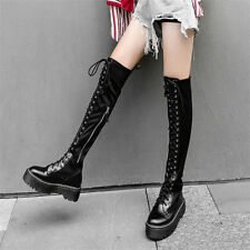 Punk Motorcycle Boots Womens Black Lace Up Thigh High Booties Long Sneaker Shoes