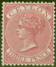 Ceylon 1867 3d Carmine-Rose SG62 Good Lightly Mtd Mint