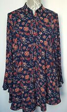 Shirt Dress UK 6 Navy Blue with Red Floral Print Loose Button Down Bell Sleeve