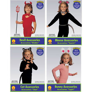Child Costume Accessory Kit:White Bunny, Black Cat, Red Devil or Gray Mouse
