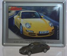Schuco Modell 1:87 Porsche 911 Carrera S dunkelgrau Schild Emaille