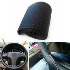 Car Truck PU Leather Steering Wheel Cover With Needles and Thread DIY Black FT