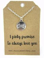 """""""I Pinky Promise to Always Love You"""" Message Card Gift Necklace Brand New"""