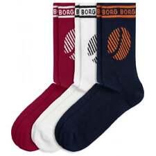 Bjorn Borg 3-Pack Retro Logo Men's Sports Socks, Navy/White/Burgundy