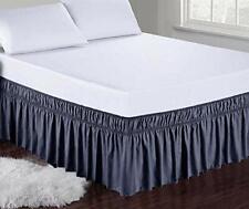 New ListingObytex Wrap Around Bed Skirts Fashional Elastic Dust Ruffle (Twin/Full|Navy)