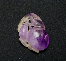 Beautiful Antique Chinese Amethyst Fruit and Bird Pendant Carving