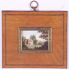 """Romantical Landscape with Villa"", French Miniature on Porcelain, Early 19th C"