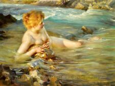 """Nude Woman Cooling Off in Stream 8.5x11"""" Photo Print Paul Chabas Fine Art USA"""