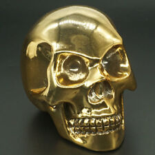 "skull Figurine 3"" Electroplated Gold Color Stone carved Statue Home Decor Gift"