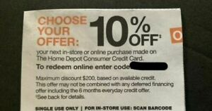 Home Depot Coupon 10% off In-Store or Online Exp 8/31/21