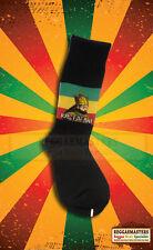 Black Socks With Halie Selassie & Red Gold Green Stripes  ROOTS RASTA REGGAE