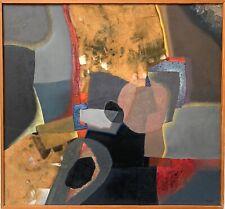 Rolland Fernand Huile collage technique m signée Art Abstrait Tremblay Auxerre